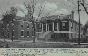 Carnegie Library and Old Court House, Beardstown, Ill, Postcard, Used in 1906
