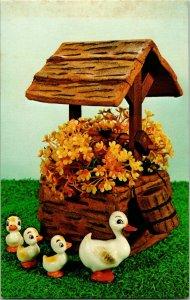 Vtg Publicité PC National Artisanat Institut Wishing Bien Pot de Fleur & Canards