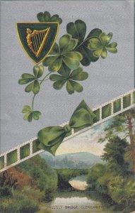GLENGARIFF, Ireland, PU=1909; Proudly Bridge, Four Leaf Clovers, Gold Harp