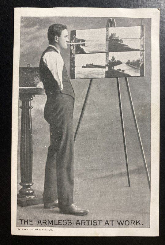 Mint England RPPC Real Picture Postcard The Armless Artist At Work