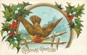 Christmas~Red Breast Brown Bird Swoops Over Snowy Fence~Gold Leaf Emboss~1907