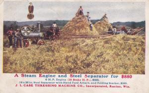 RACINE , Wisconsin , PU-1909 J.I. Case Machine Co. Steam Engine