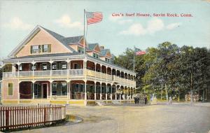 Savin Rock Connecticut Coxs Surf House Flag Pole Antique Postcard (K2271)