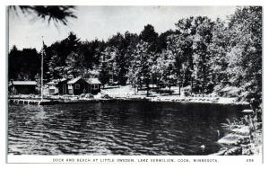 Dock and Beach at Little Sweden, Lake Vermilion, Cook, MN Postcard *5D(2)