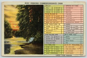 Busy Person Correspondence Card~Sunset Reflects in Creek~Peeks Thru Trees~Linen