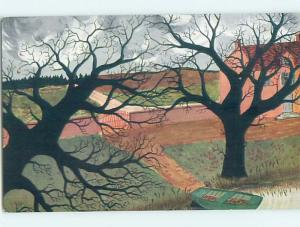 1930's foreign BEAUTIFUL SILHOUETTE OF BARREN TREES AS WINTER APPROACHES HL7549