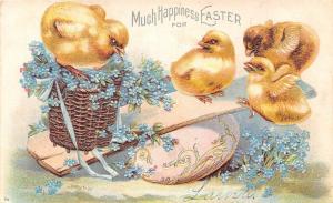 Easter~Yellow Chicks on Egg Teeter Totter~Blue Flower Basket~Silver Emboss~IAPC