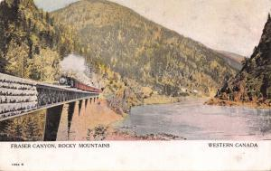 RAILROAD TRESTLE FRASER CANYON BRITISH COLUMBIA CA-ROCKY MOUNTAINS POSTCARD 1910