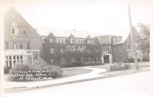 C54/ Mt Mount Pleasant Michigan Mi RPPC Postcard c40s Sloan Hall Central College