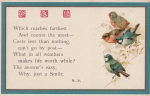Smiling With Birds In Trees Wrens Robins Weather Songcard Old Postcard