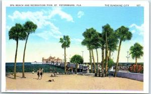 St. Petersburg Florida Postcard Spa Beach & Recreation Pier Linen 1940s Unused