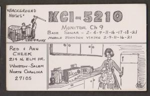 CB QSL Card - Hand Drawn - Red & Ann Cheek Winston-Salem North Carolina