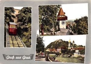 Gruss aus Graz, Tram Bridge River Promenade Pont Tower Clock