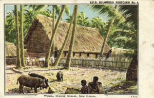 PC CPA PAPUA NEW GUINEA, WAMIRA MISSION SCHOOL, Vintage Postcard (b19740)