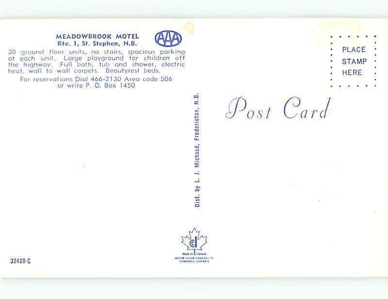 Unused Pre-1980 MEADOWBROOK MOTEL St. Stephen NB n8821