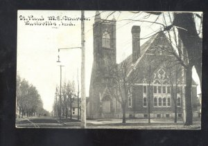 RUSHVILLE INDIANA ST. PAUL METHODIST EPISCOPAL CHURCH VINTAGE POSTCARD 1908