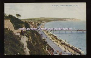 h1908 - Isle of Wight - View from the Cliffs across Sandown Bay - postcard