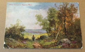 VINTAGE POSTCARD WHEN THE LEAVES BRGIN TO TURN