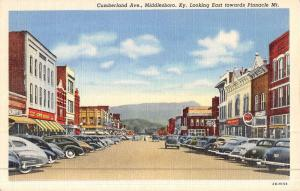 Middlesboro Kentucky Cumberland Ave Street Scene Antique Postcard K46484