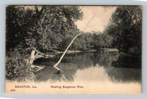Decatur IL-Illinois, Scenic Rushing Sangamon River, Vintage Postcard