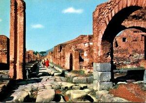 Italy Pompei Vesuvius Street and Castellum Aquae