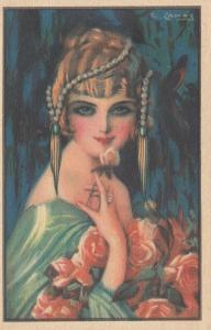 G. CAMPS ; Art Deco Female Portrait , Trade Card, 1910-30s