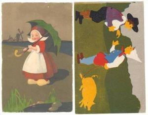 2 Postcards, Dutch children, pig, 00-10s