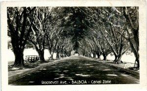 Roosevelt Ave, Balboa, Panama Canal Zone vintage RPPC