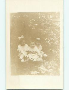 Pre-1920 rppc CUTE GIRL WITH BOW IN HAIR WITH OTHER KIDS r6475