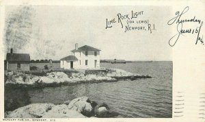 1904 Private mailing Lime Rock Light Newport Rhode Island Postcard Mercury 9604