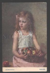 111730 Girl w/ Apples by KHARLAMOV vintage RUSSIAN PC