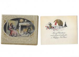 Two Vintage Christmas Cards 1930s  Merry Christmas