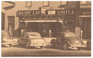 Albans VT Blue Lion Grill Street View Old Cars Postcard