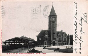 C. & N. W. Railway, Train Station, Milwaukee, WI, Early Postcard, Used in 1905