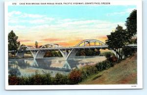 Postcard OR Grants Pass Cave Man Bridge Over Rogue River Pacific Highway I13