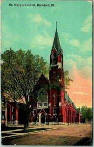 Rockford, Illinois Postcard ST. MARY'S CHURCH Building / Street View 1914 Cancel