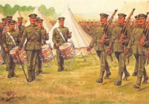 Military Art Postcard The Essex Regiment,  Arrival In Camp  WW1 #27-5