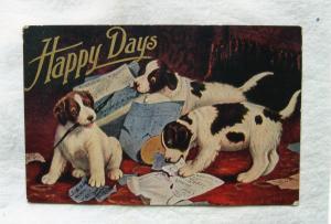Happy Days Three Puppies Dogs Postcard Miniature Art ca. 1910
