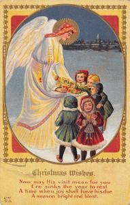 Christmas Angel Brings Toys to Victorian Village Children~Gold Leaf~~Nash C-47