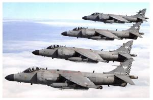Postcard Four FA2 Sea Harriers based at RNAS Yeovilton Flying in Formation 24F