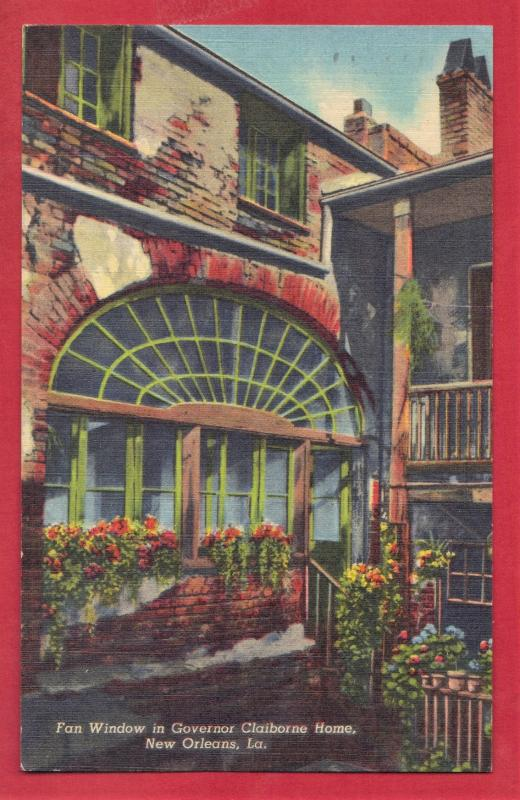 NEW ORLEANS, LA FAN WINDOW IN GOV. CLAIBORNE HOME  1957    3.5X5.5   PC2