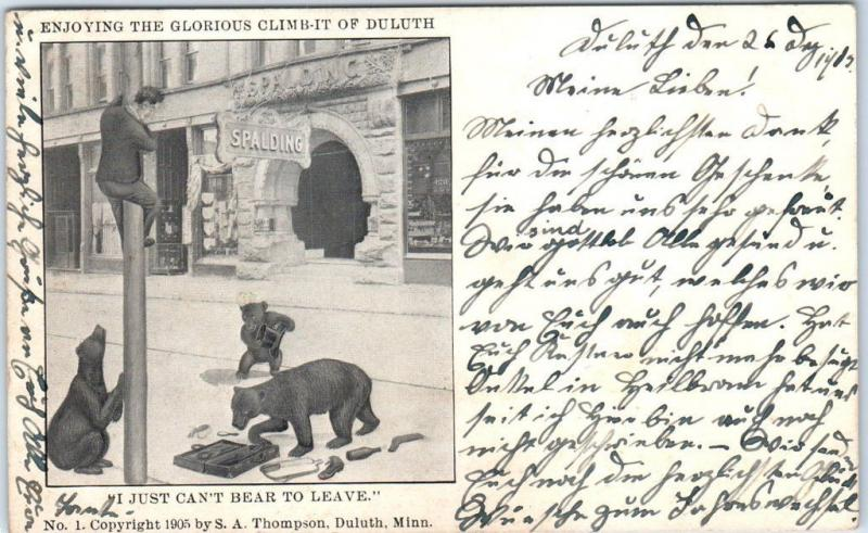 1905 DULUTH Minnesota Comic Postcard Bears Street Scene Spalding Hotel View