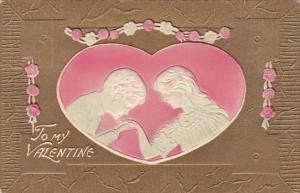 Valentine's Day Romantic Young Couple Inside Red Heart 1910