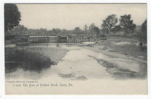 Corry, Pennsylvania, Vintage Postcard View of The Dam at Porters Pond, 1905