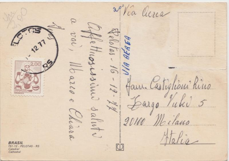 Brazil, Brasil, PELOTAS, Catedral, Cathedral, 1977 used Postcard