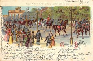 BG19223 kaiser wilhem II mit gefolge unter den linden military  berlin  germany