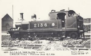 LT & SR Tank 2136 at Plaistow Shed in 1924 Real Photo Train Postcard