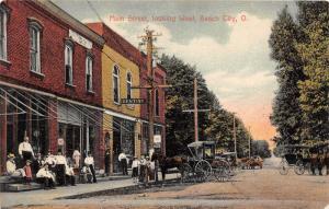 E84/ Beach City Ohio Postcard 1909 Main Street West Dentist Stores Wagon 2