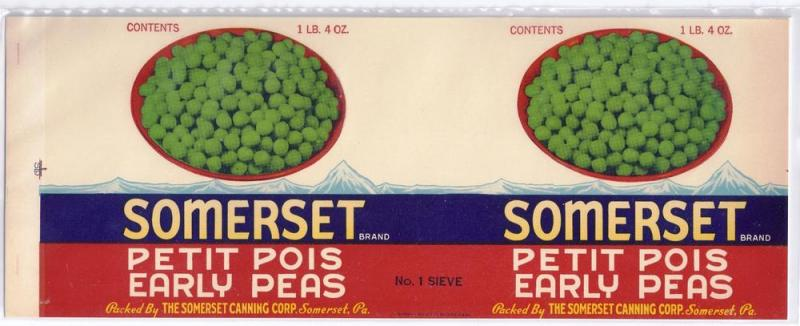 Somerset Sifted Early Peas Vintage Can Label Somerset PA
