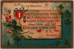 Vintage VALENTINE'S DAY Postcard I Hold it True, Whate'er Befall… 1910 Cancel